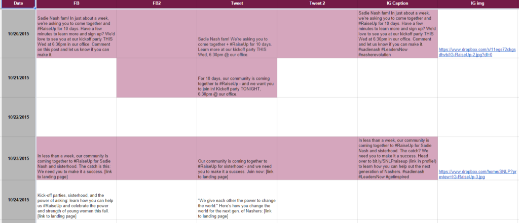 Sample social media editorial calendar