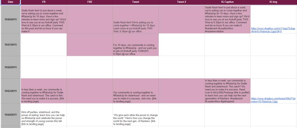 Sample social media editorial calendar